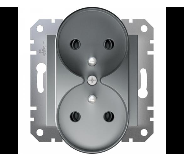 Gniazdo podwójne 2x2P+PE do systemu ramkowego, stal EPH9810262