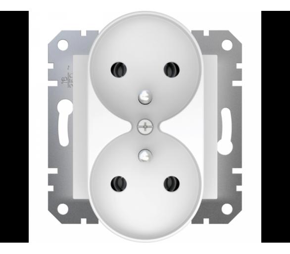 Gniazdo podwójne 2x2P+PE do systemu ramkowego, biały EPH9810221
