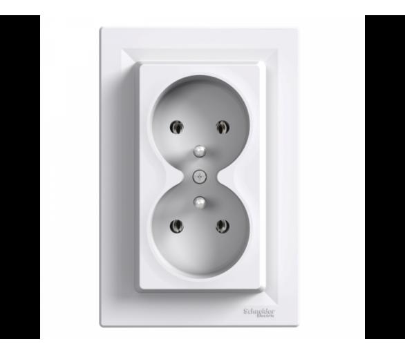 Gniazdo 2x2P+PE, podwójne biały EPH9800221