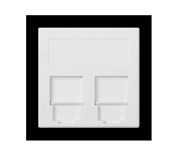 Plakietka teleinformatyczna SIMON 500 keystone podwójna płaska uniwersalna z osłonami 50×50mm czysta biel 50000089-030