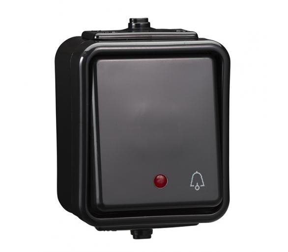Przycisk dzwonek z podświetleniem IP44 czarny WNT101CS05
