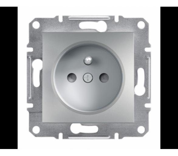 Gniazdo 2P+PE z przesłonami bez ramki, aluminium EPH2800261