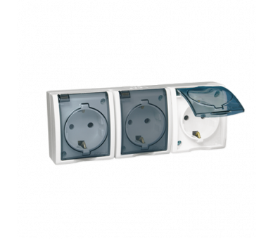 Gniazdo wtyczkowe potrójne z uziemieniem typu SCHUKO - w wersji IP54 -  klapka w kolorze transparentnym biały 16A AQGSZ1-3/11A