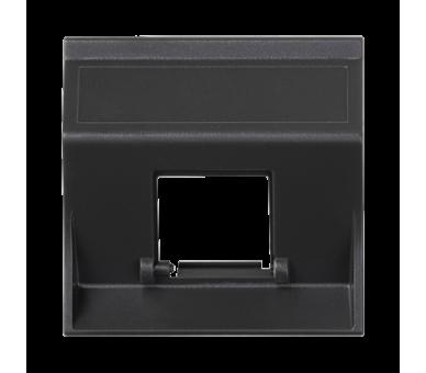 Plakietka teleinformatyczna SIMON 500 do adapterów MD pojedyncza bez osłon skośna 50×50mm szary grafit 50000181-038