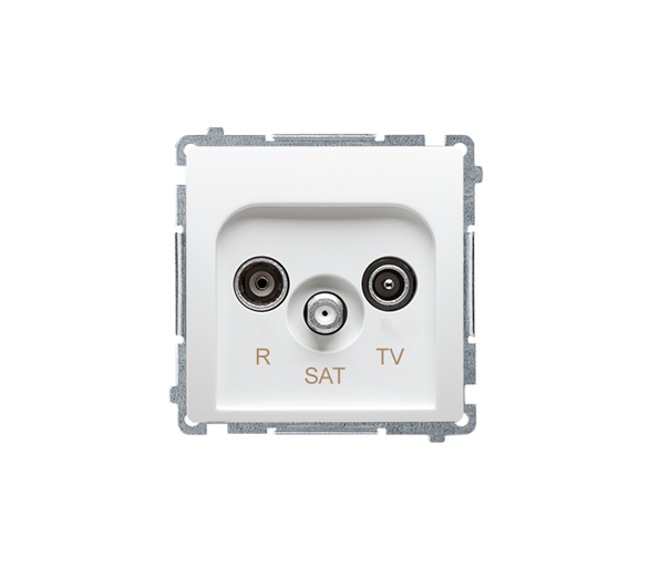 Gniazdo antenowe R-TV-SAT przelotowe tłum.:10dB biały BMZAR-SAT10/P.01/11