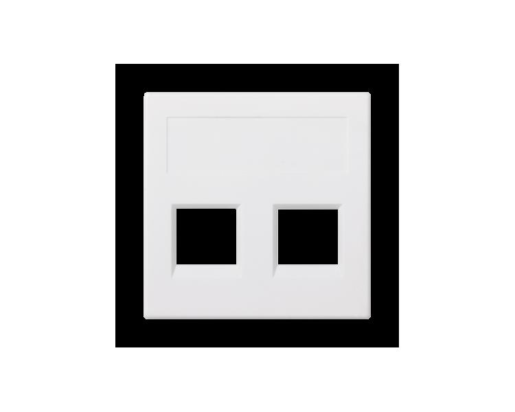 Plakietka teleinformatyczna SIMON 500 keystone podwójna bez osłon płaska uniwersalna 50×50mm czysta biel 50000189-030