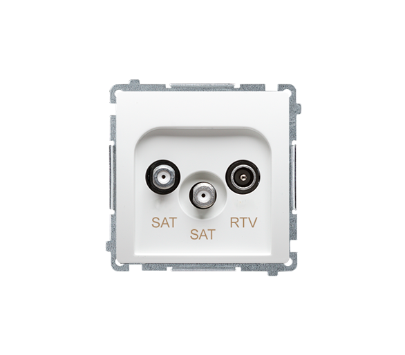 Gniazdo antenowe SAT-SAT-RTV satelitarne podwójne tłum.:1dB biały BMZAR+SAT3.1-P2.01/11