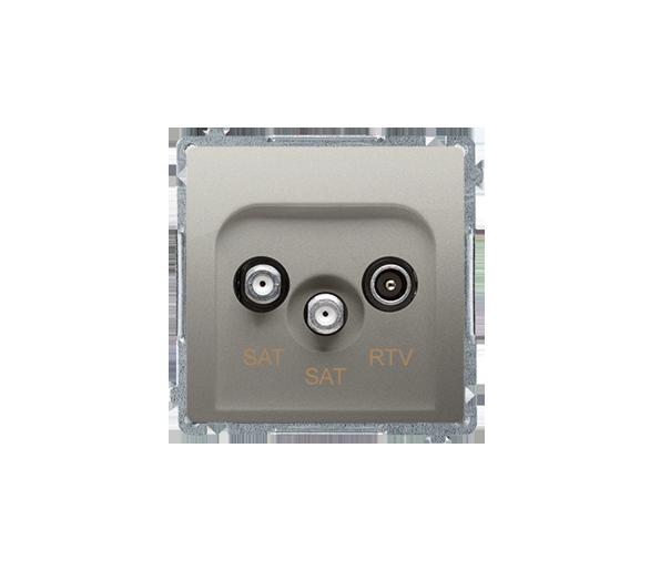 Gniazdo antenowe SAT-SAT-RTV satelitarne podwójne tłum.:1dB satynowy, metalizowany BMZAR+SAT3.1-P2.01/29