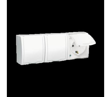 Gniazdo wtyczkowe potrójne z uziemieniem typu SCHUKO - w wersji IP54 -  klapka w kolorze białym biały 16A AQGSZ1-3/11