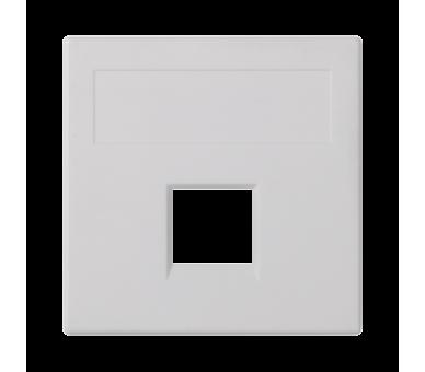 Plakietka teleinformatyczna SIMON 500 keystone pojedyncza bez osłon płaska uniwersalna 50×50mm czysta biel 50000185-030