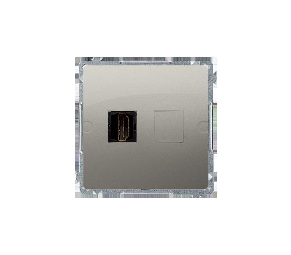 Gniazdo HDMI pojedyncze satynowy, metalizowany BMGHDMI.01/29
