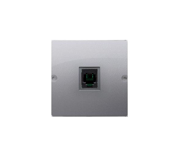 Gniazdo telefoniczne pojedyncze RJ11 (moduł) inox, metalizowany