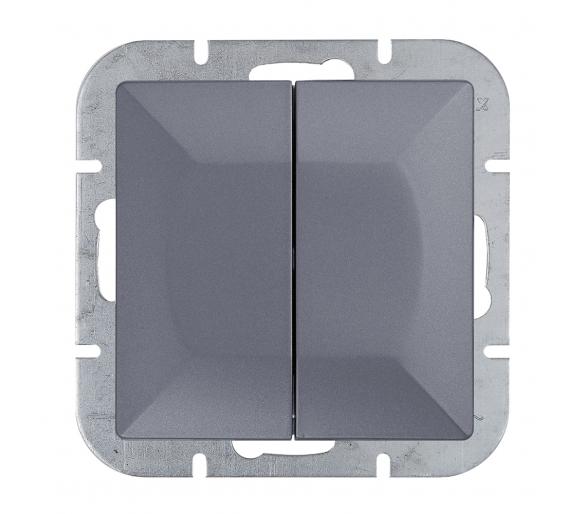 Wyłącznik 2-klawiszowy instalacyjny p/t 10A, 250V, świecznikowy WP-2P antracytowy