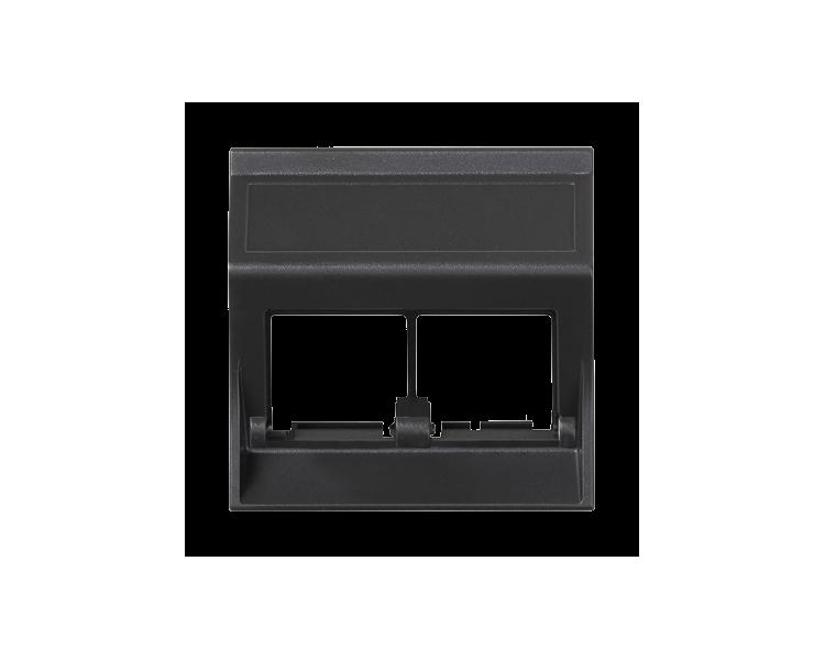 Plakietka teleinformatyczna SIMON 500 do adapterów MD podwójna bez osłon skośna 50×50mm szary grafit 50000186-038