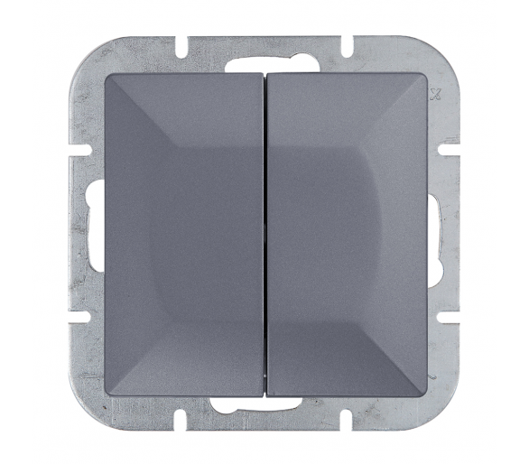 Wyłącznik 2-klawiszowy instalacyjny p/t 10A, 250V, schodowy WP-2/5P antracytowy