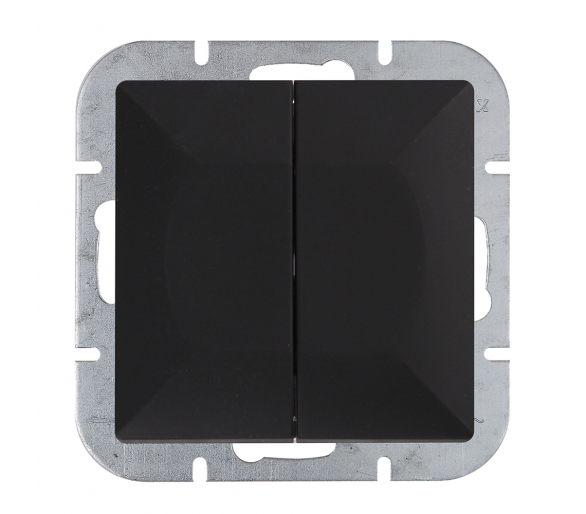 Wyłącznik 2-klawiszowy instalacyjny p/t 10A, 250V, schodowy WP-2/5P czarny mat