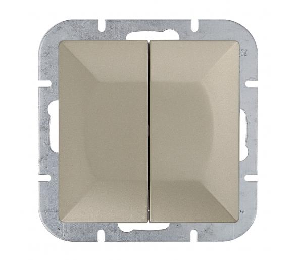 Wyłącznik 2-klawiszowy instalacyjny p/t 10A, 250V, schodowy WP-2/5P satynowy