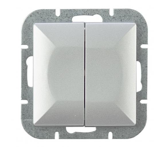 Wyłącznik 2-klawiszowy instalacyjny p/t 10A, 250V, schodowy WP-2/5P srebrny