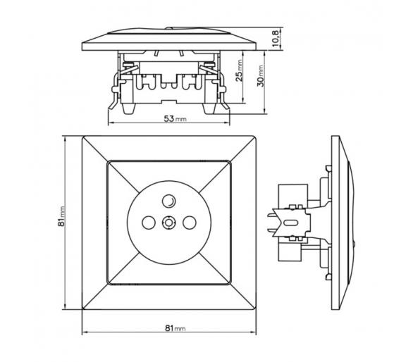 Gniazdo pojedyncze p/t 2p+Z 16A, 250V z ładowarką 2A, 5V, 2xUSB PT-16P/USB srebrne