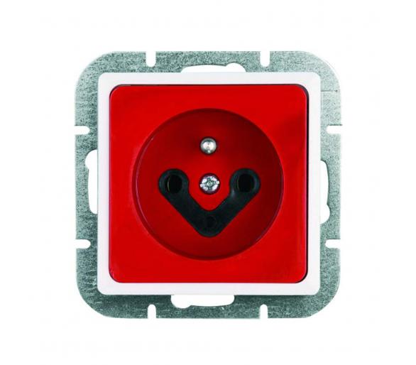 Gniazdo wtyczkowe pojedyncze p/t, 2p+Z, 16A, 250V kodowane z kluczem adaptacyjnym PT-16K DATA czerwone