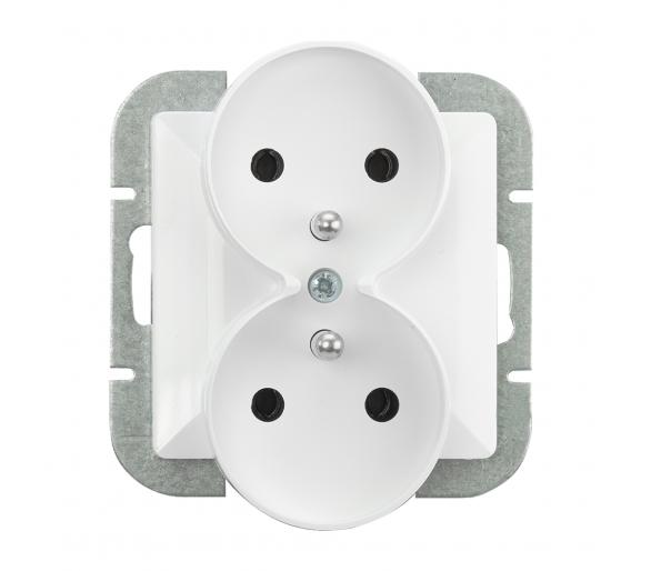 Gniazdo wtyczkowe podwójne p/t 2x2p+Z 16A, 250V DO SYSTEMU RAMKOWEGO PT-6PR białe