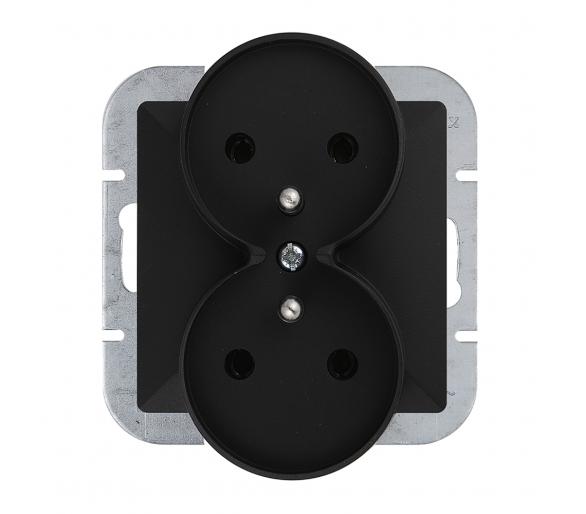 Gniazdo wtyczkowe podwójne p/t 2x2p+Z 16A, 250V DO SYSTEMU RAMKOWEGO PT-6PR czarny mat