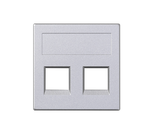 Plakietka teleinformatyczna SIMON 500 keystone podwójna bez osłon płaska uniwersalna 50×50mm aluminium 50000189-033