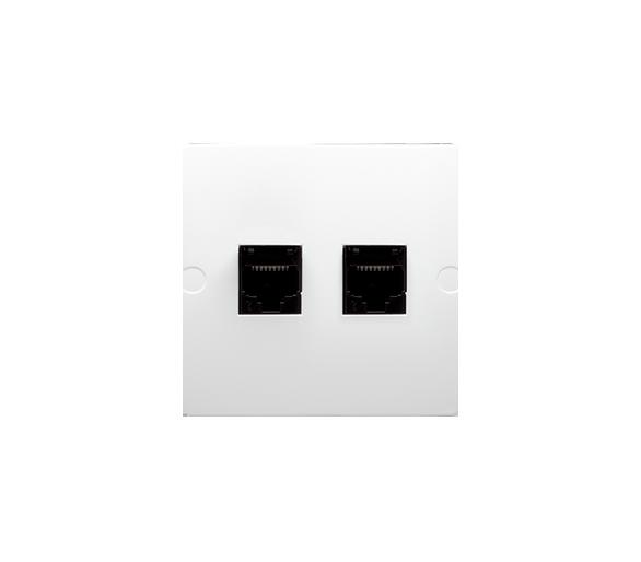 Gniazdo komputerowe podwójne RJ45 kategoria 5e (moduł) biały