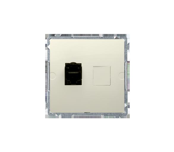 Gniazdo komputerowe pojedyncze RJ45 kategoria 6, z przesłoną przeciwkurzową (moduł) beżowy