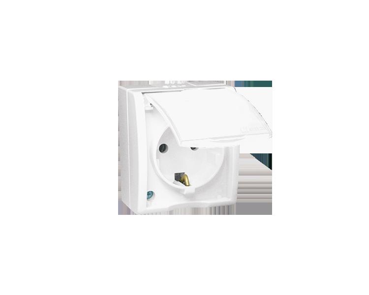 Gniazdo wtyczkowe pojedyncze z uziemieniem typu Schuko - w wersji IP54 -  klapka w kolorze białym biały 16A AQGSZ1/11