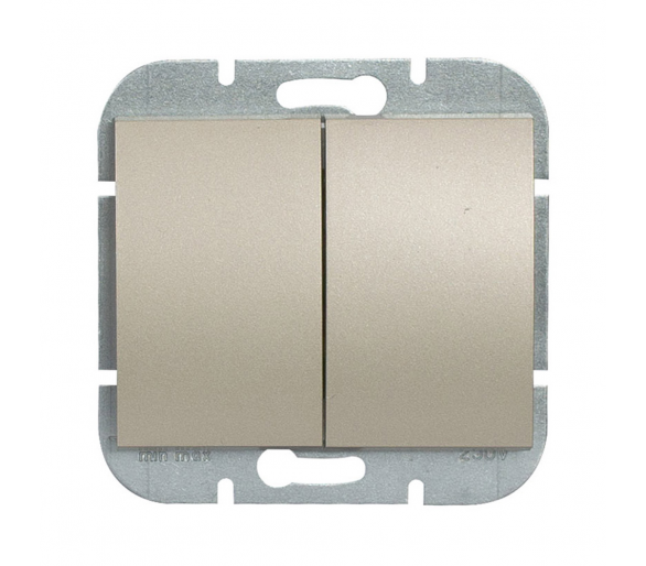 Wyłącznik 2-klawiszowy instalacyjny p/t 10A, 250V, świecznikowy WP-2N satynowy