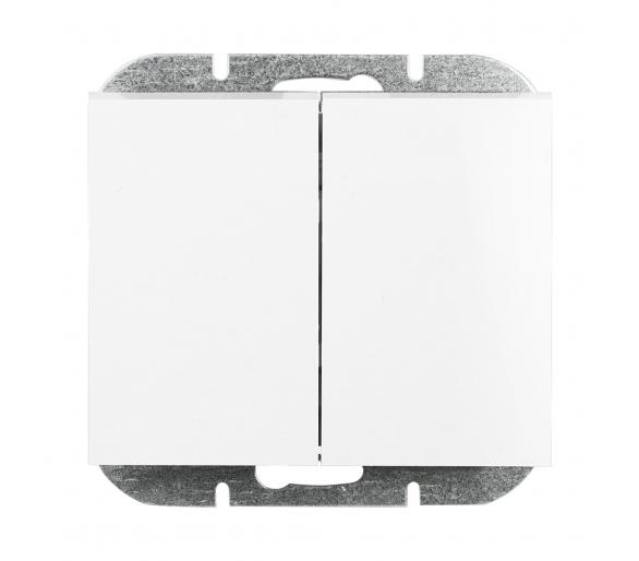 Wyłącznik 2-klawiszowy instalacyjny p/t 10A, 250V, świecznikowy, podświetlany WP-2NS biały