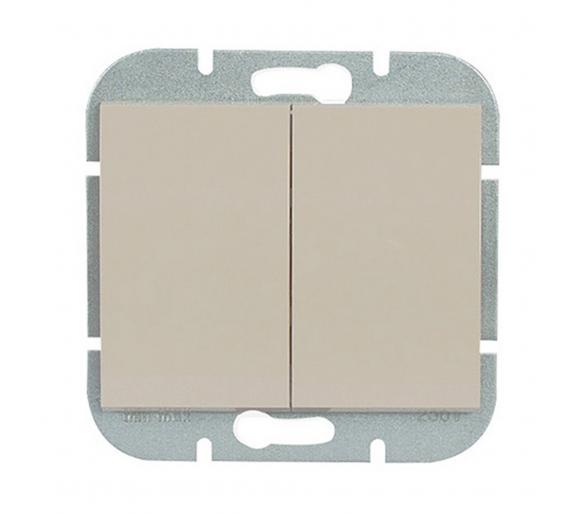 Wyłącznik 2-klawiszowy instalacyjny p/t 10A, 250V, świecznikowy, podświetlany WP-2NS beżowy
