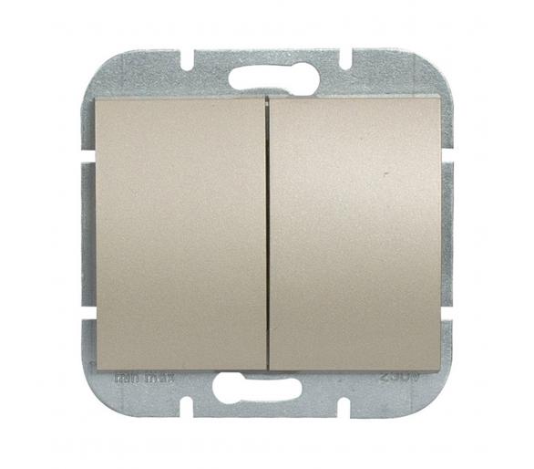 Wyłącznik 2-klawiszowy instalacyjny p/t 10A, 250V, świecznikowy, podświetlany WP-2NS satynowy