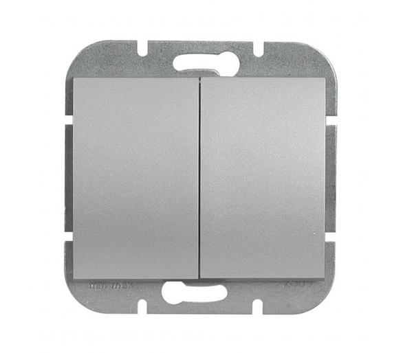 Wyłącznik 2-klawiszowy instalacyjny p/t 10A, 250V, świecznikowy, podświetlany WP-2NS srebrny
