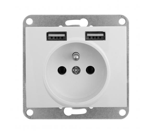 Gniazdo pojedyncze p/t 2p+Z 16A, 250V z ładowarką 2A, 5V, 2xUSB PT-16N/USB białe