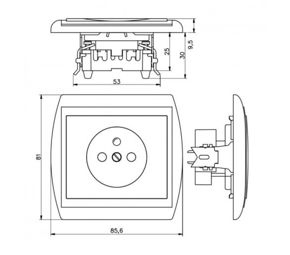 Gniazdo pojedyncze p/t 2p+Z 16A, 250V z ładowarką 2A, 5V, 2xUSB PT-16N/USB beżowe