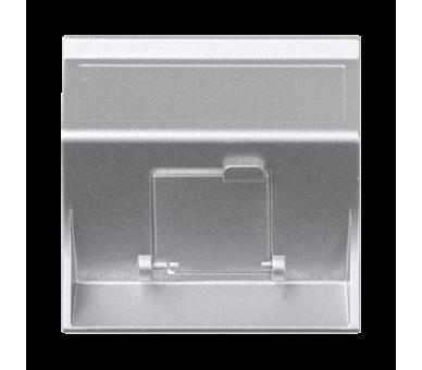 Plakietka teleinformatyczna SIMON 500 do adapterów MD pojedyncza skośna z osłoną 50×50mm aluminium 50000081-033