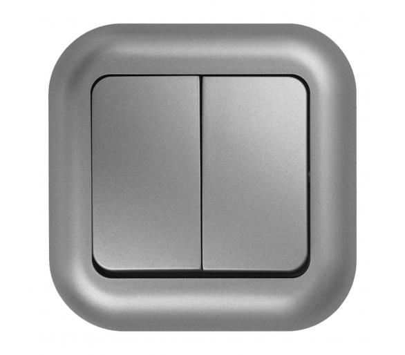 Wyłącznik p/t 10A, 250V, świecznikowy podświetlany WP-2F/S srebrny