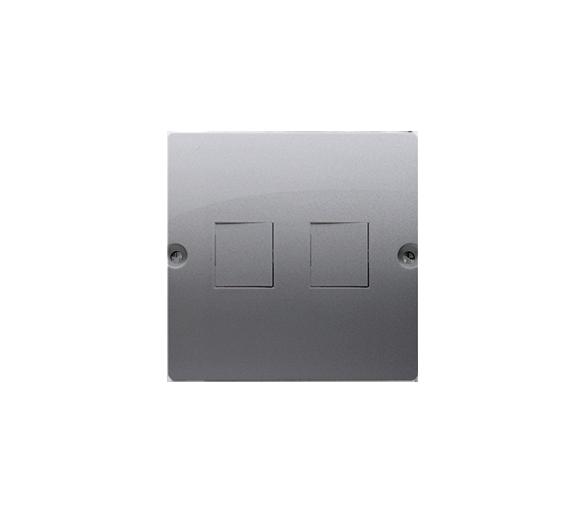 Pokrywa gniazd teleinformatycznych na Keystone płaska podwójna inox, metalizowany BMGK1P/21