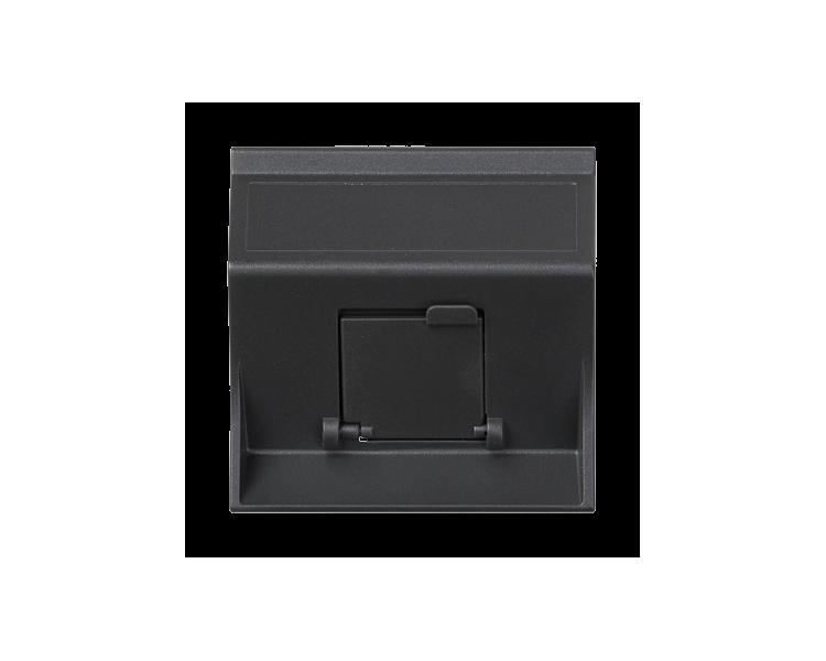 Plakietka teleinformatyczna SIMON 500 do adapterów MD pojedyncza skośna z osłoną 50×50mm szary grafit 50000081-038