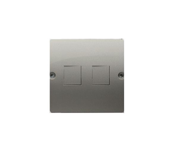 Pokrywa gniazd teleinformatycznych na Keystone płaska podwójna satynowy, metalizowany BMGK1P/29