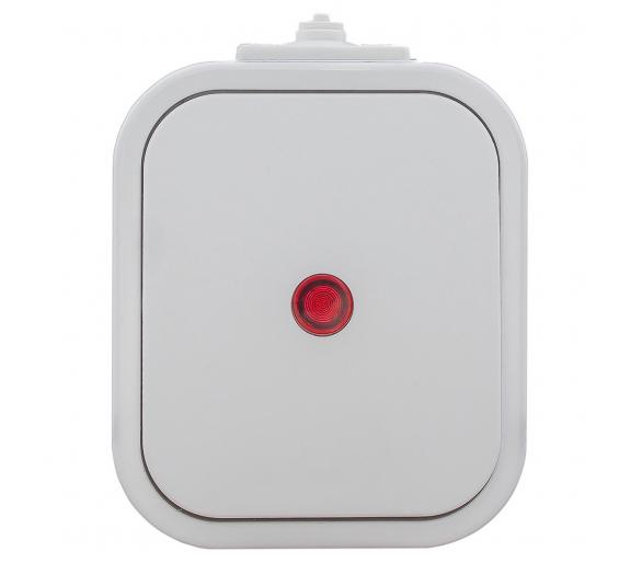 Wyłącznik pojedynczy podświetlany n/t, IP54 WNT-1B2/S biały