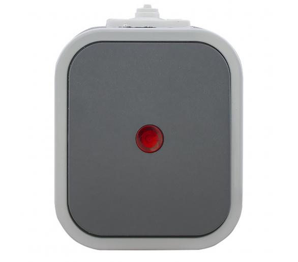 Wyłącznik schodowy z podświetlany n/t, IP54 WNT-5B2/S szaro-szary