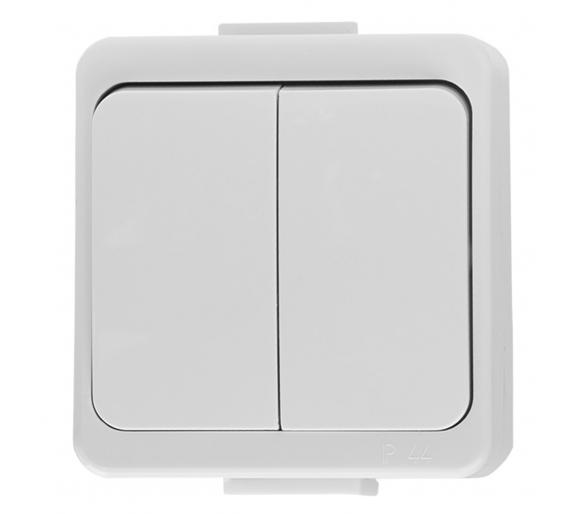 Wyłącznik 2-klawiszowy świecznikowy z podśw. n/t IP44 WNT-2S/S biały