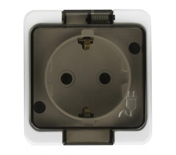 Gniazdo wtyczkowe pojedyncze 2P+Z Schuko bryzgoodporne z klapką dymną IP44 NT-17S/L białe