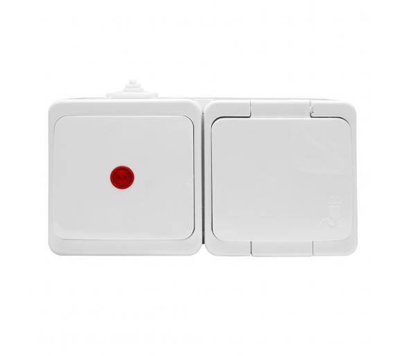 Gniazdo wtyczkowe pojedyncze 2P+Z bryzgood.z klapką w kolorze wyrobu + wyłącznik 1-bieg.podś. IP44 GWN-S/S biały