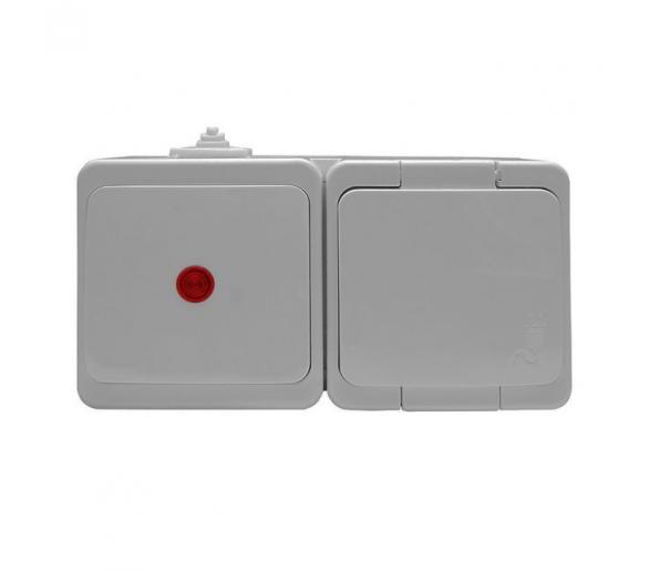 Gniazdo wtyczkowe pojedyncze 2P+Z bryzgood. SCHUKO z klapką w kol.wyrobu + wyłącznik podś. IP44 GWN-17S/S biały