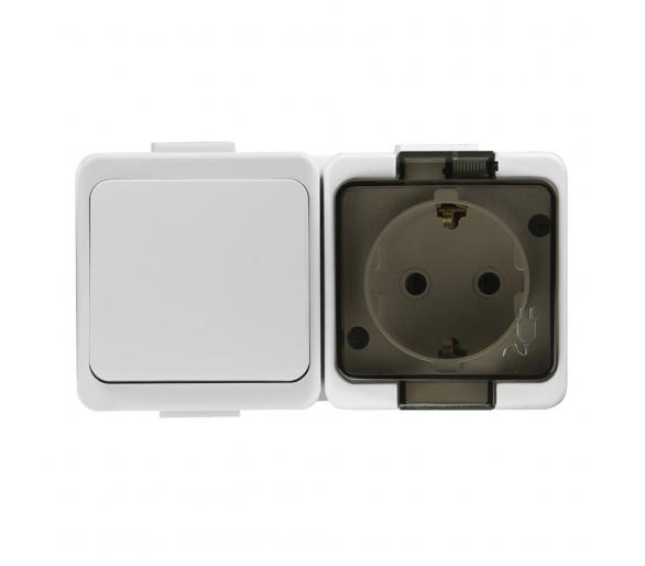 Gniazdo wtyczkowe pojedyncze 2P+Z bryzgood. SCHUKO z klapka dymną+ wyłącznik 1-bieg. IP44 GWN-17S/L biały