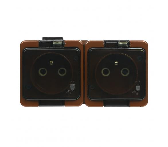 Gniazdo wtyczkowe podwójne 2P+Z bryzgoodporne z klapką dymną IP44 NT-6S/L brązowe